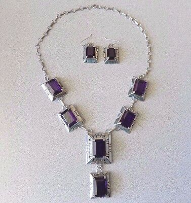 Navajo CARL QUINTANA Signed STERLING SILVER AMETHYST Necklace & Earrings