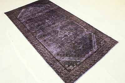 Oriental Rug Vintage Overdyed 290x150 Purple Used Look Quality Hand Knotted 3288