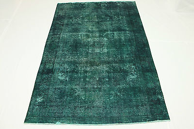 East Rug Vintage 310x200 turquoise green used look hand knotted decorative 2731