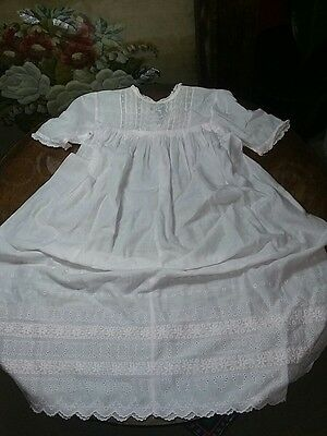 Vintage Doll or baby dress pale pink lace
