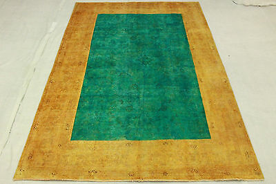 Vintage Oriental Rug Sand Turquoise Overdyed 290x200 Used Look Hand Knotted 3204