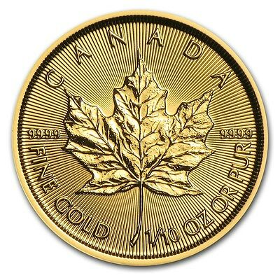 1/10 oz 2016 Gold (Canada) Canadian Maple Leaf $5 BU