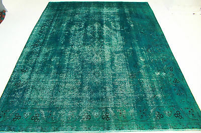 East Rug Vintage overdyed 390x300 turquoise quality Used Look hand knotted 5042