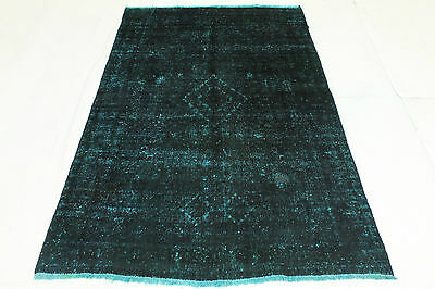 Vintage Oriental Rug Blue Turquoise Overdyed 200x120 Used Look Hand Knotted 2709