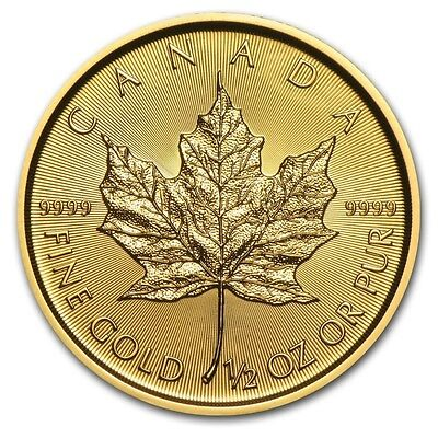1/2 oz 2016 Gold (Canada) Canadian Maple Leaf $20 BU