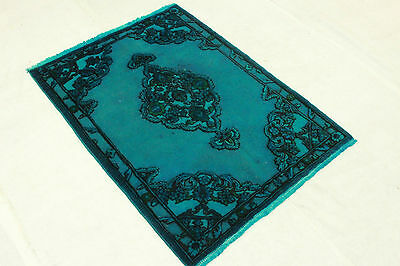 East Rug Vintage overdyed 150x110 turquoise Used Look quality hand knotted 3276