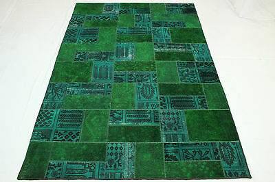 Patchwork East Rug Vintage 310x200 turquoise green Used Look hand knotted 1948