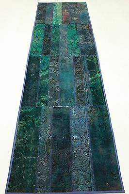 East Rug Patchwork Runner Vintage modern chic turquoise 300x80 Used Look 1310