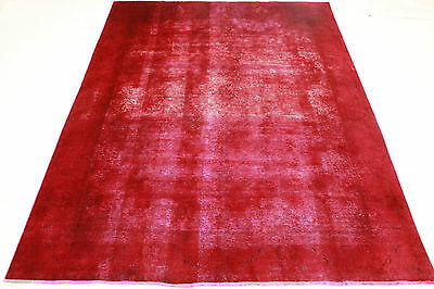 Vintage Oriental Modern Rug Red Overdyed USED LOOK 370x270 Hand Knotted 3215