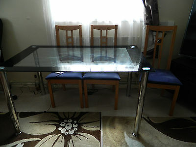 Dining Table Glass and 6 Chairs