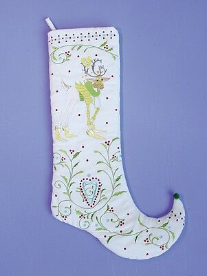 Dash Away Prancer Stocking Reindeer Patience Brewster Embroidered Christmas