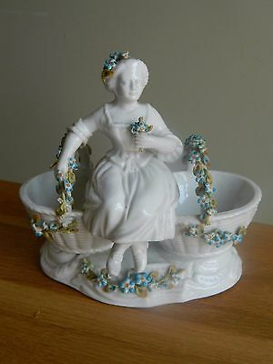 Antique Sitzendorf porcelain  figurine girl with flowers salt baskets
