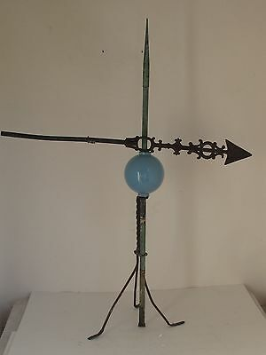 Antique Lightning Rod with Ornate Arrow and Blue Glass Ball