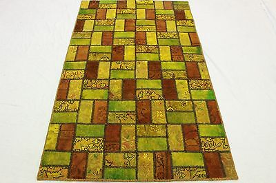 Patchwork Oriental Rug Vintage Yellow Green 200x120 Used Look Hand Knotted 2520