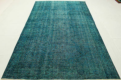 East Rug Vintage overdyed Used Look turquoise 290x170 quality hand knotted T54