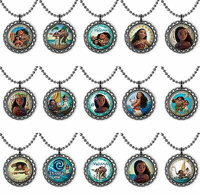 Moana Bottle Cap Necklace Birthday Party Favors, Gifts, Beach Party Lot of 15