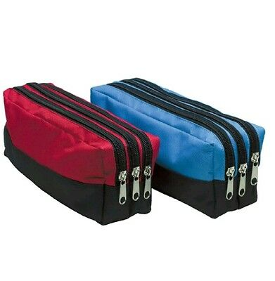 Triple Pocket Pencil Case Zip Large Rectangular Fabric Assorted Colours School
