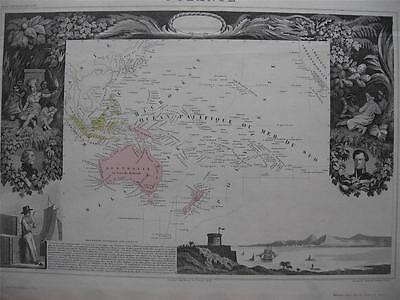 c1860 - LEVASSEUR - Map OCEANIA  Australia  New Zealand  Hawaii  Pacific Is.