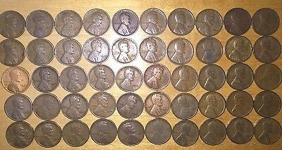 1927 P Lincoln Wheat Cent Penny Roll    50 Circulated Pennies