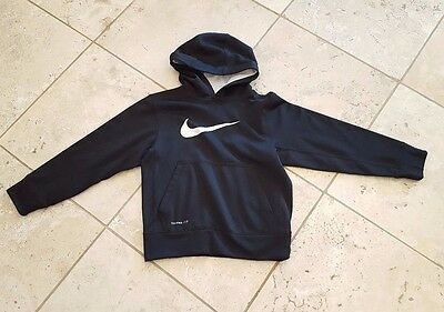 Boys Nike Therma Fit Solid Black Long Sleeve Hoodie Size S