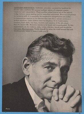 1960 Leonard Bernstein Photo Columbia Records Masterwork vintage music print ad