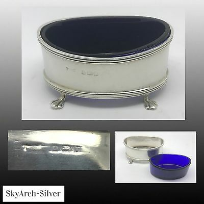 Solid Silver~Salt Cellar~Salt Pot~Hallmarked Birmingham 1920~With Blue Liner~