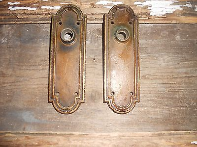 Vtg Arched Heavy Corbin Brass Steampunk Raised Door Knob Back Plates No Key Hole