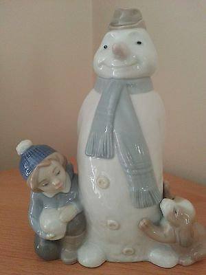 Nao by Lladro Figurine 'Winter game' snowman  with puppy and boy perfect rare