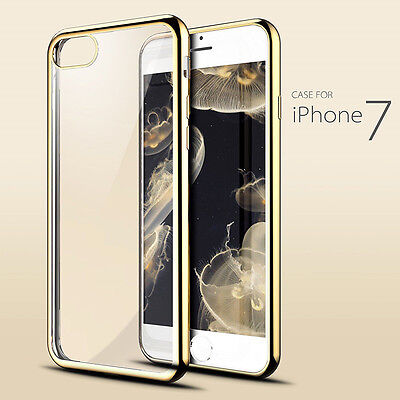 Gold Shockproof Crystal Clear Soft TPU Case Slim Back Cover for iPhone 7 S002
