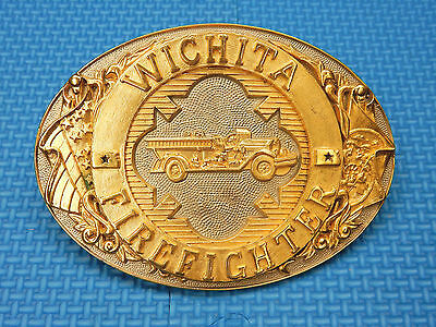 Wichita Firefighters Belt Buckle 1985 Edition Solid Brass By Norman Texas Usa