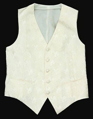 New BRIONI Ivory Abstract 100% Silk 5Btn Tuxedo Tux Vest M MSRP $595!
