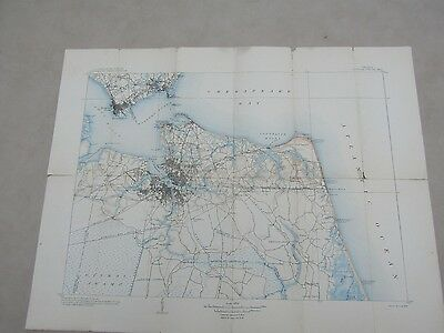 Vintage Collector 1907 Folded Map of the Virginia Norfolk