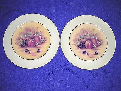 """Aynsley ~ Orchard Gold Design ~ 8"""" Plates X 2"""