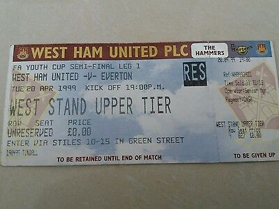 West ham utd v Everton fa youth cup semi-final 1st leg 20/4/1999 match ticket
