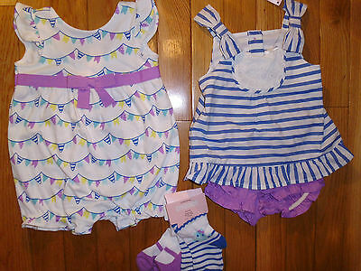 3 6 M Gymboree HIPPOS AND BOWS 5pc LOT Romper Baby Girl New Gift NWT