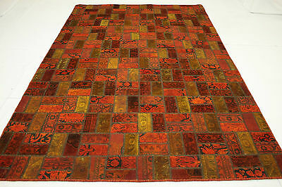 Oriental Rug Patchwork Vintage Overdyed Red Modern 310x200 USED LOOK 1867