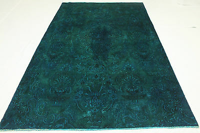 Vintage Oriental Modern Rug 310x190 Turquoise Chic Used Look Hand Knotted 3045