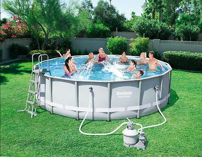 Bestway 16ft x 48Inch Large Steel Frame Family Garden Swimming Pool Outdoor Set