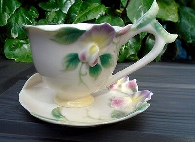 FRANZ Porcelain SWEET PEA Cup & Saucer FZ00421 Retired