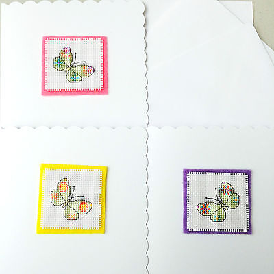Set of 3 Completed Cross Stitch Cards Colourful Butterflies Felt Backed