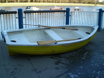 11ft Rowing fishing GRP dinghy boat glass fibre Yellow