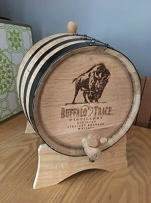 Whiskey White Wood Oak Barrel Buffalo Trace Bourbon Decanter Bar Top Sign Ad