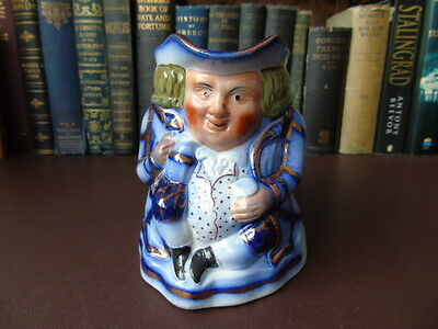 19th c Staffordshire Flow Blue Toby Jug Copper Gilt Highlights