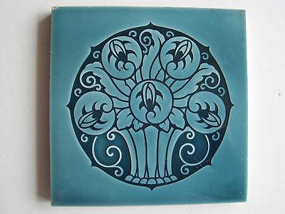 Antique Art Nouveau Blue Glazed Tile - Stylised Basket Of Flowers