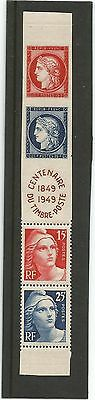 France 1949 French Stamp Centenary S/G 1061a Vertical Strip of 4 plus Label  MNH