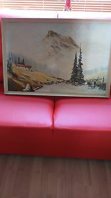 Ray Witchard oil on board mountain river Alpine scene signed great confition