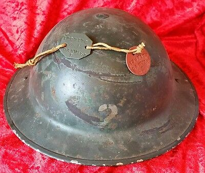 WW2 British MK2 Brodie Tommy Helmet Green Colour + Liner & Chinstrap & Dog Tags