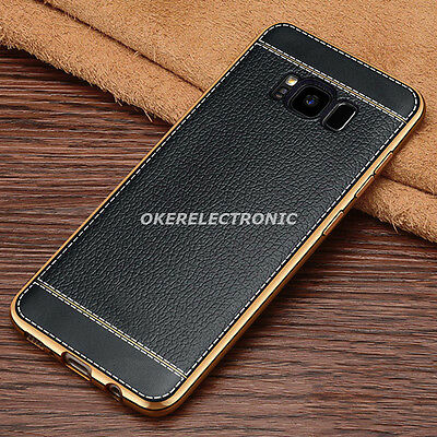 Black Ultra thin PU Leather Soft Back Case Skin Cover For Samsung Galaxy S8 S002