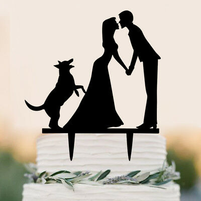 Wedding Engagement Cake Topper with Dog Acrylic Silhouette Cake Topper Decor