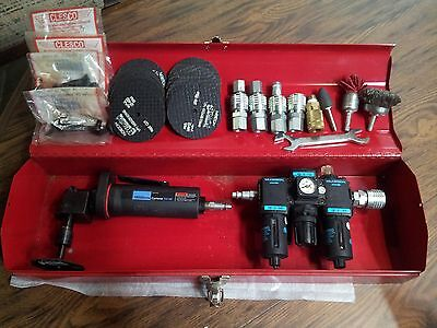 Ingersoll Rand Angle Air Grinder, Wilkerson Regulator, and Accessories
